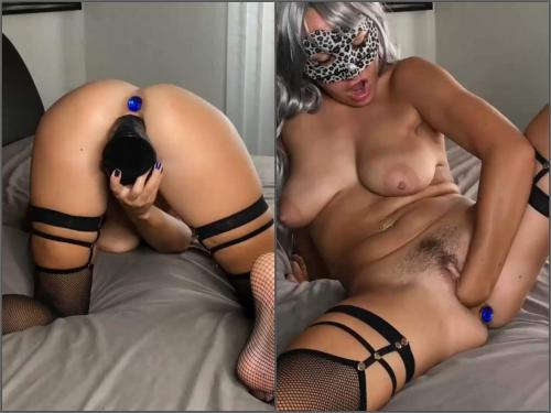 Pussy Fisting – Fallen Angel with beautiful natural tits enjoy self fisting and dildo penetration