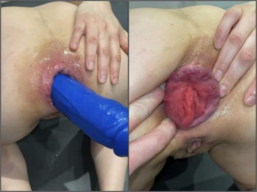 Anal Insertion – M687pro big blue dildo with the balls in ass – Premium user Request