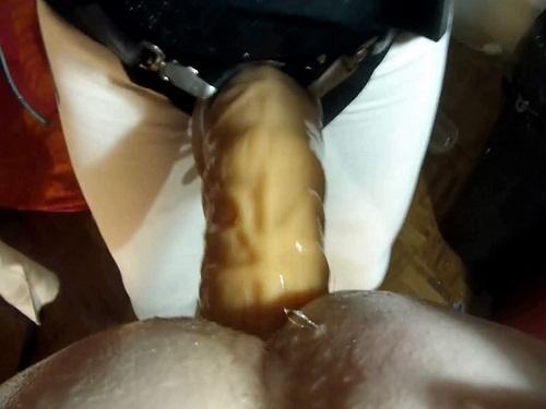 Dildo Anal – Amateur POV porn – Submissive Husband enjoy pegging femdom sex