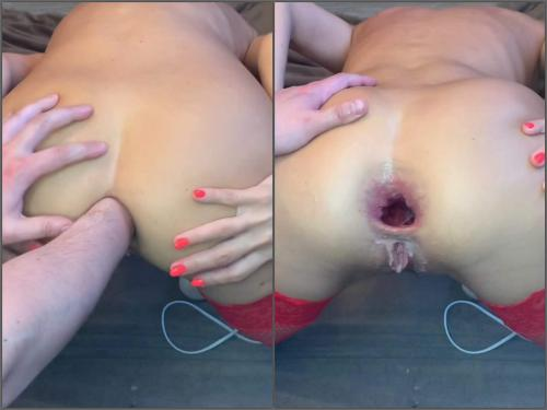 Pov Porn – CrazyWifeSlut CWS ruined her asshole by fist and dildo – Premium user Request