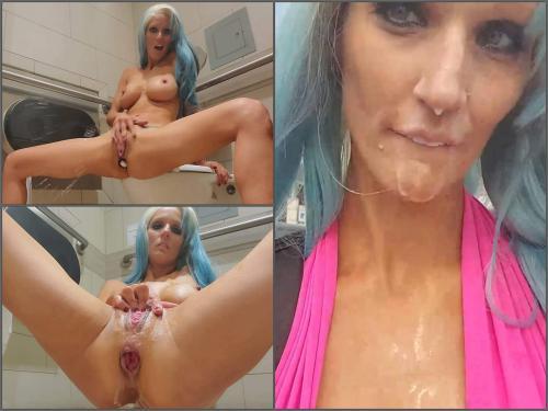 Toilet Fetish – Busty girl Hope In Public Huge Anal in Public Restroom & Cum Walk