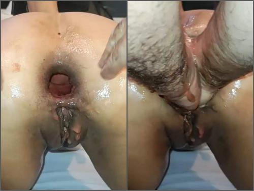 Amateur – Latina big ass wife gets double fisted anal and show sweet gaping