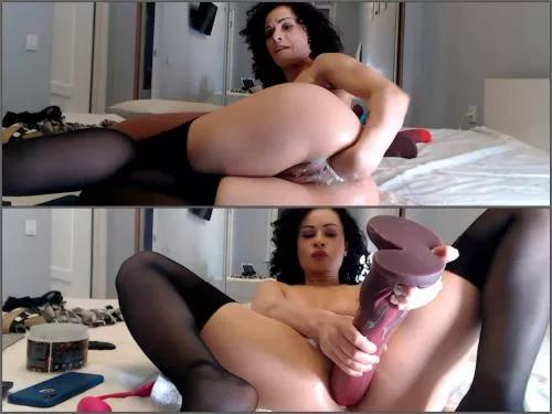 Girl gets fisted – Curly Stacy Bloom monster size horse toy and fist deeply anal fuck
