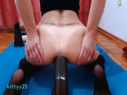 Anal stretching – Hot chick kittyy25 long rubber toys fully deep anal penetration in doggy style